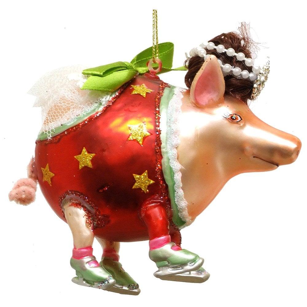 Christmas Pig.Christmas Decoration 00270 Glass Pig