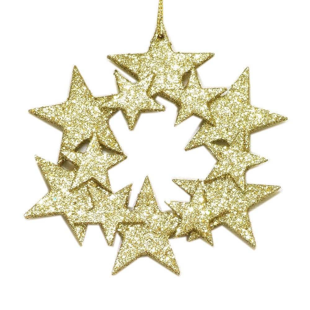 Gisela Graham Christmas Tree Decoration 10197 Gold Star Wreath Gisela Graham 10197