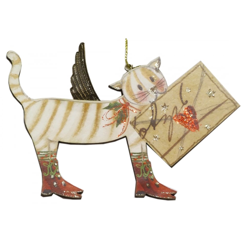 Christmas Tree Decoration 13336 Cat With Letter Gisela Graham