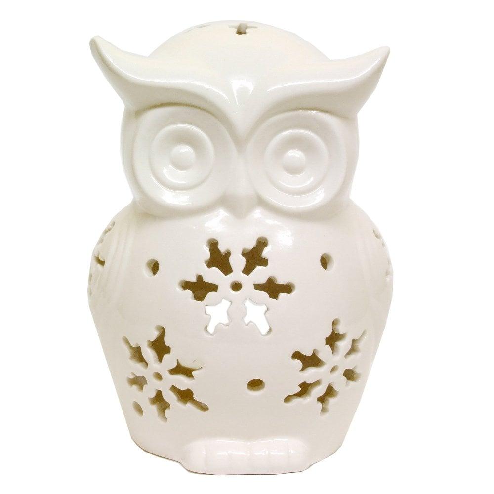 Gisela Graham Tea Light Holder 50125 White Ceramic Owl